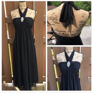 NWT WHBM formal maxi gown jewel halter neck